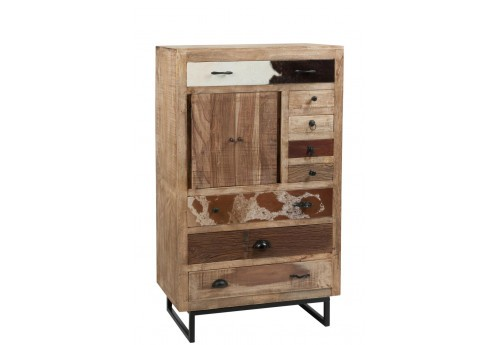 commode en bois exotique et 4 tiroirs imitation peau de vache vical. Black Bedroom Furniture Sets. Home Design Ideas