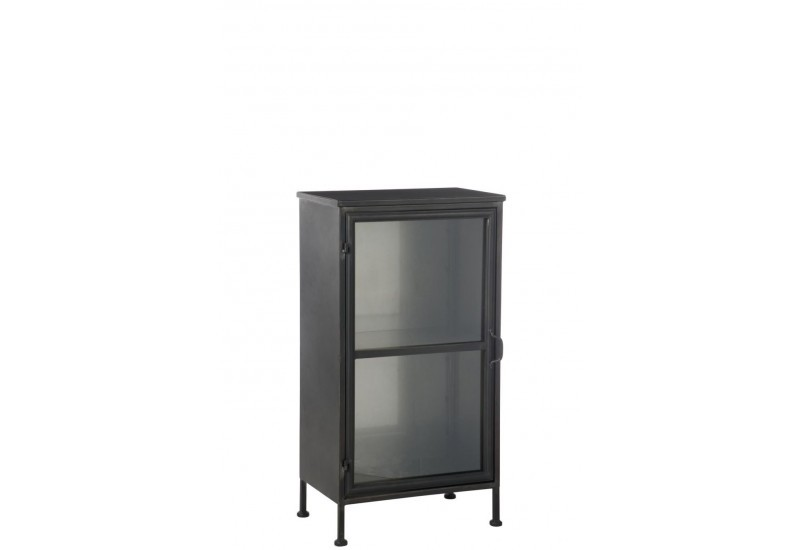 petite armoire 1 porte en m tal noir et verre industrielle j line b. Black Bedroom Furniture Sets. Home Design Ideas