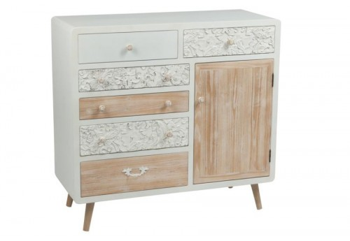 commode 6 tiroirs 1 porte bois blanc et naturel j line by. Black Bedroom Furniture Sets. Home Design Ideas