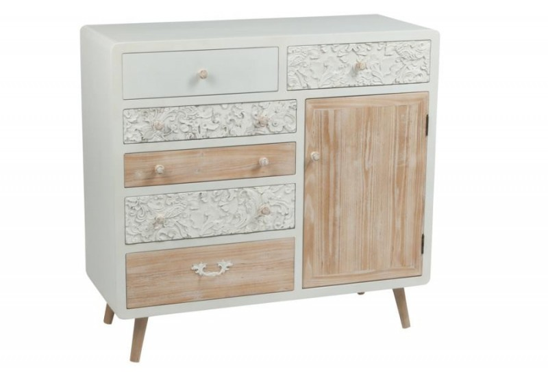 commode 6 tiroirs 1 porte bois blanc et naturel j line by jolipa 31949. Black Bedroom Furniture Sets. Home Design Ideas