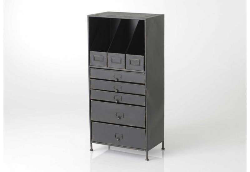 classeur de rangement m tal industriel noir amadeus 31157. Black Bedroom Furniture Sets. Home Design Ideas