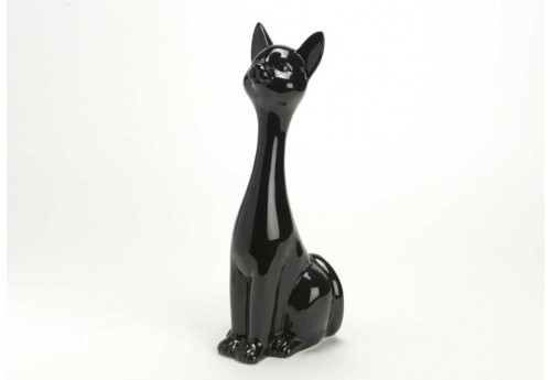 Chat assis noir modernita h30 cm