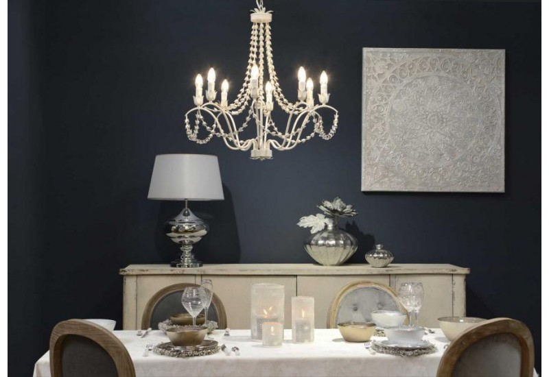 Grand lustre blanc 8 branches Paola