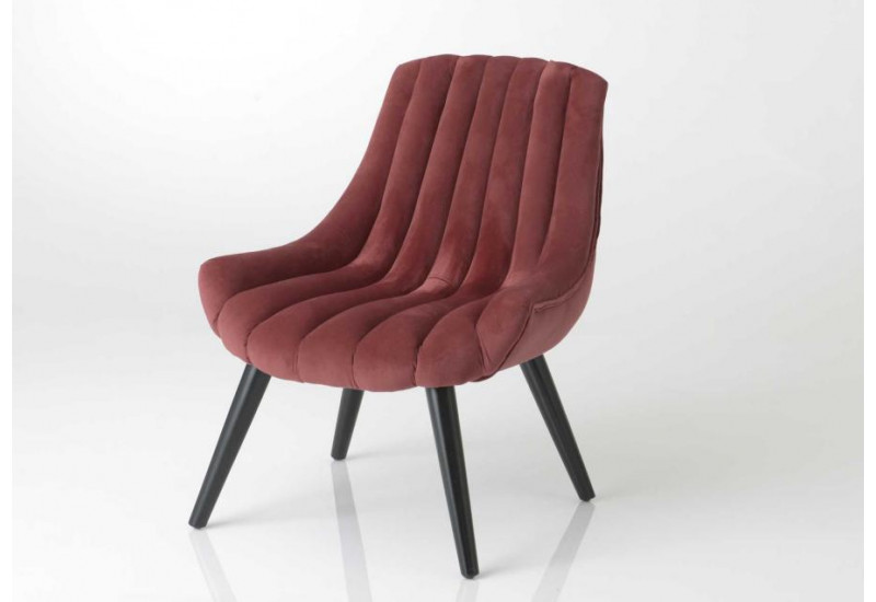 Fauteuil vintage scandinave design tube velours bordeaux