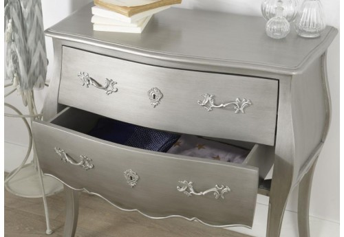 Commode 2 tiroirs murano argent new silver Amadeus