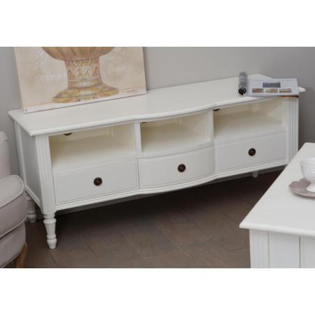 Meuble tv romantique blanc avec 3 tiroirs agathe Amadeus
