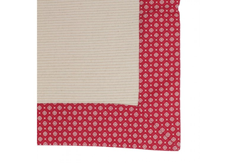 petit tapis petit point rouge et beige 50x80 cm