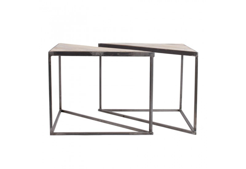 table basse triangle x2 industrielle tangram 60x30x48 5cm jardin d 39. Black Bedroom Furniture Sets. Home Design Ideas