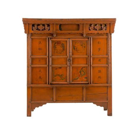 Armoire chinoise 2 portes patinées orange antique PALU