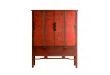 Armoire chinoise 4 portes rouge antique WAIGEO