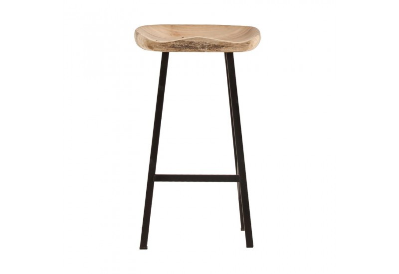 Tabouret de bar style industriel assise bois naturel