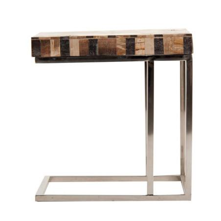Bout de canapé contemporain en acier et mélange de bois