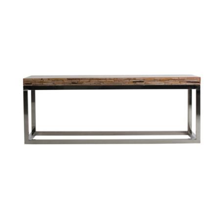 Table basse contemporaine combinée acier et bois