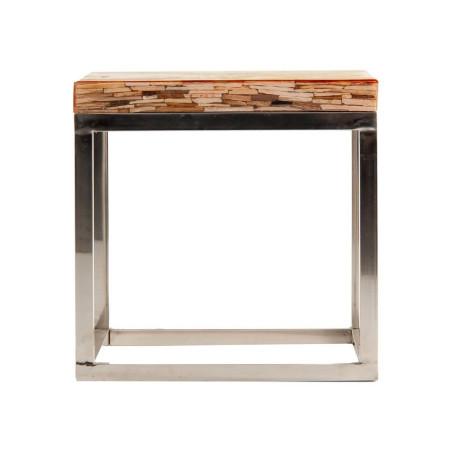 Bout de canapé contemporain combiné acier et bois