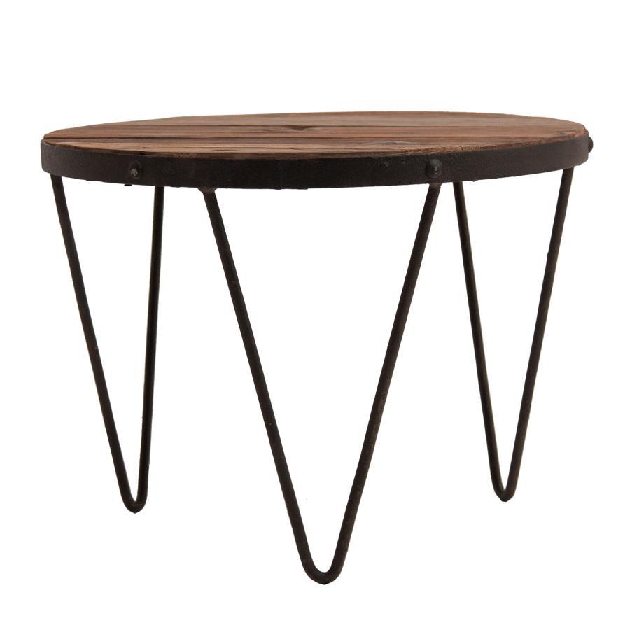 Table À Manger Industrielle table à manger ronde industrielle métal et bois vical home vh-23743