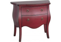 Commode chic 2 tiroirs Azzuro Rouge Cardinal 80x38xH72 cm