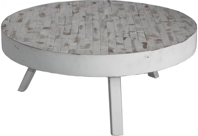 Table basse ronde en teck recyclé blanchi St. Barth D74xH32 cm