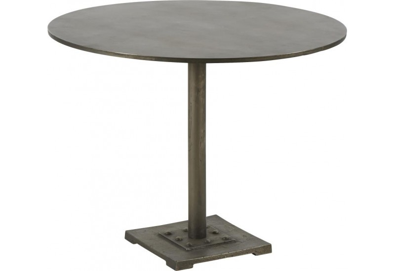 Table ronde bistrot Gustave Antic Silver Patine D80xH62 cm