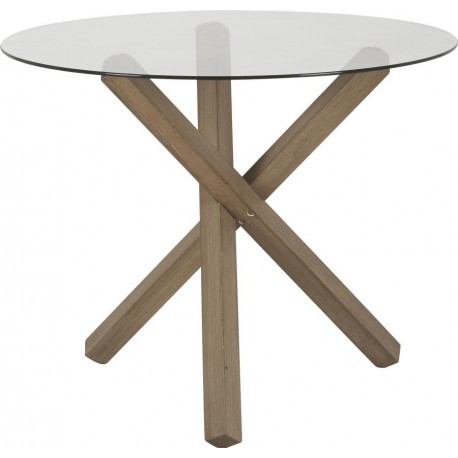 Table ronde plateau verre san diego d85x67 cm hanjel 32762 for Table ronde 85