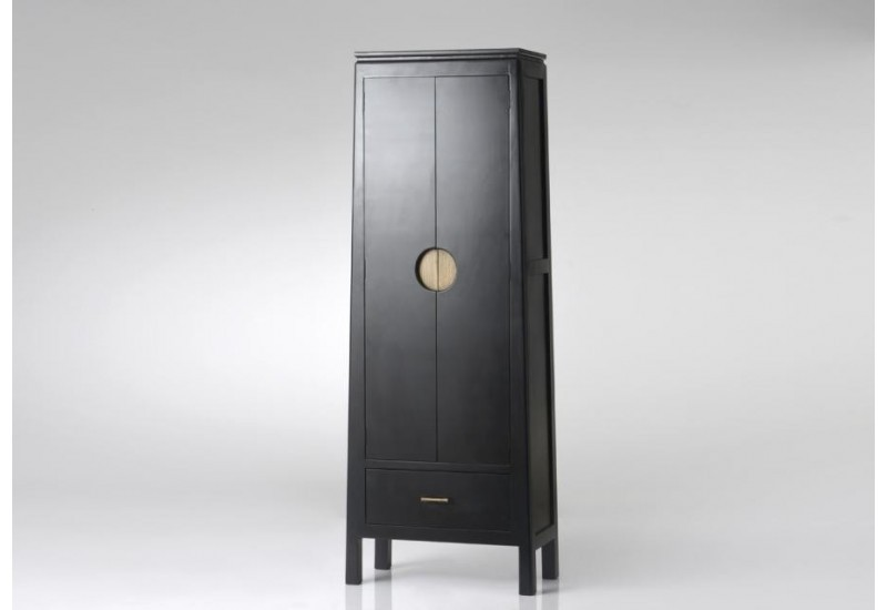 armoire chinoise noire 2 portes 1 tiroir estampe amadeus 33248. Black Bedroom Furniture Sets. Home Design Ideas