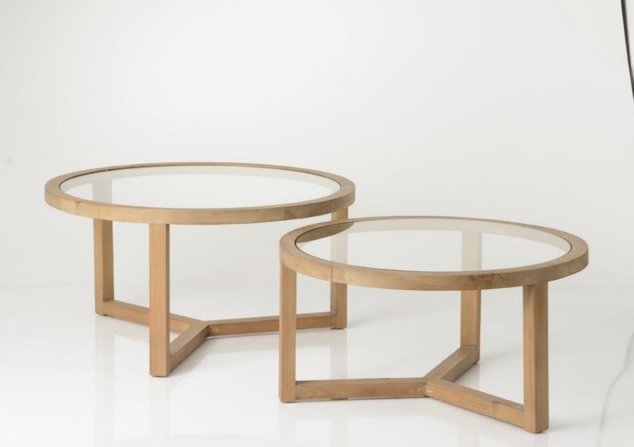 Set 2 Tables Basse Ronde Bois Et Verre Style Nature