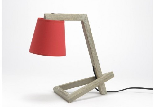 lampe scandinave bois naturel suzanne abj rouge vif amadeus 33626. Black Bedroom Furniture Sets. Home Design Ideas