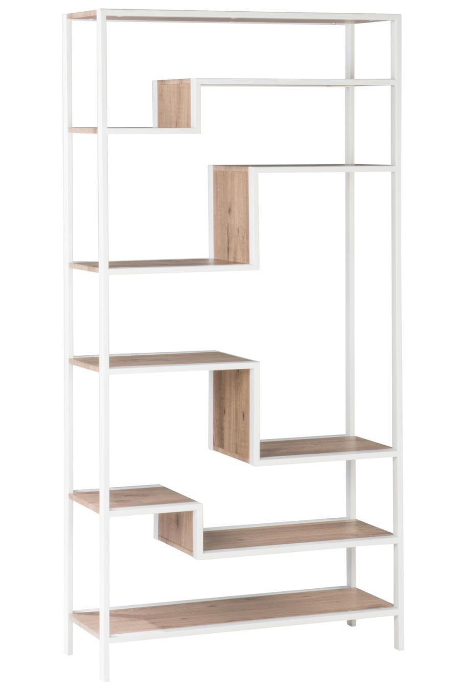 etagere zigzag 5 plateaux bois naturel et metal blanc