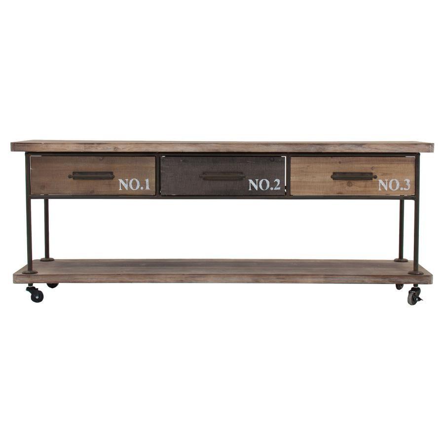 Meuble En Sapin Brut meuble tv industriel sur roues bois et métal brut sligo