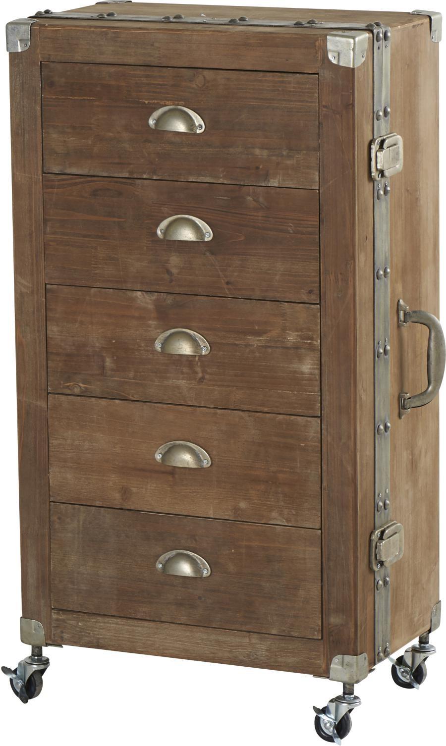 valise en bois Chiffonnier 5 Tiroirs valise en bois brut 52.5x32x94.5cm Hanjel HA-.