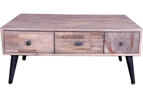 Table basse scandinave St Gervais 6 Tiroirs 90x65xH40cm