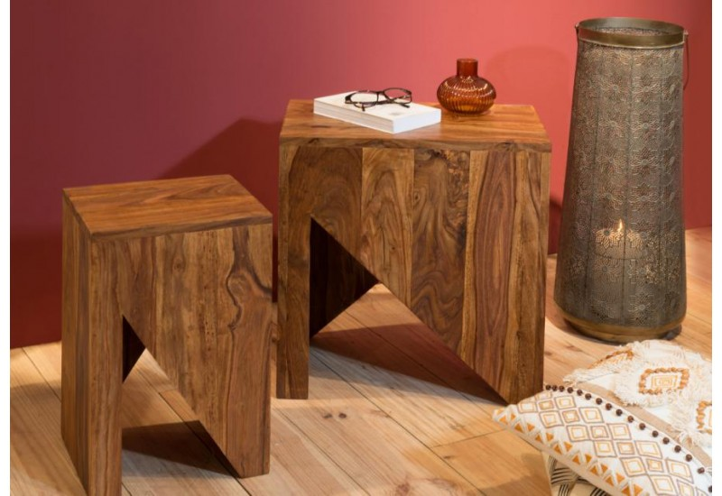 Set 2 tables basses design en bois exotique