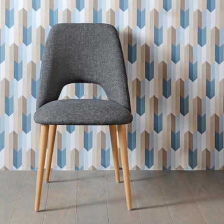 Chaise scandinave en tissu gris Gentiane