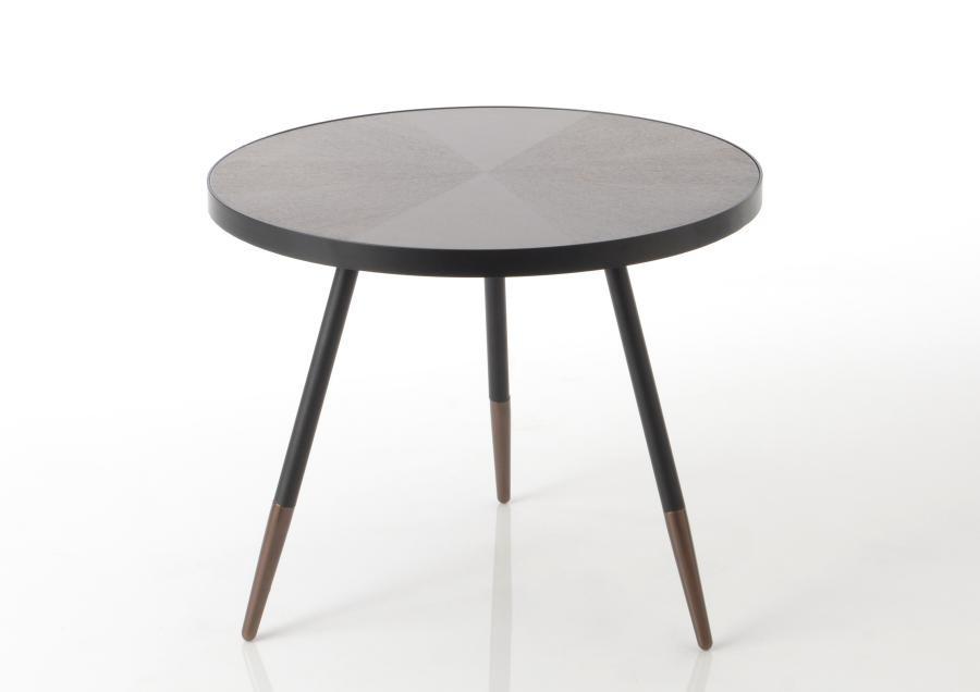 Petite Table Basse Ronde Style Art Deco En Bois Marron Et Noir Mart