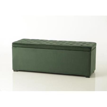 Bout de lit coffre en velours capitonné vert foncé