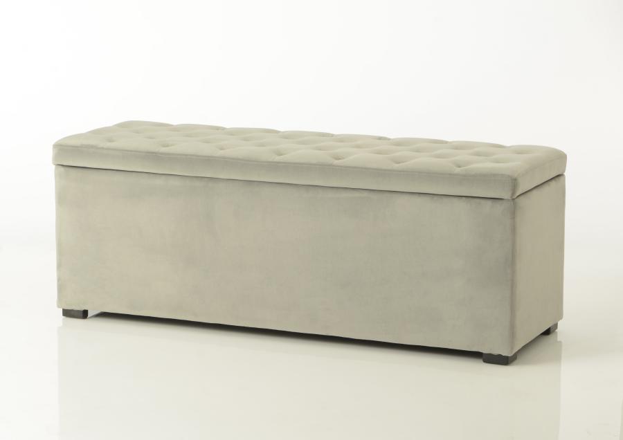 bout de lit coffre en tissu velours capitonn gris clair amadeus am - Bout De Lit Coffre