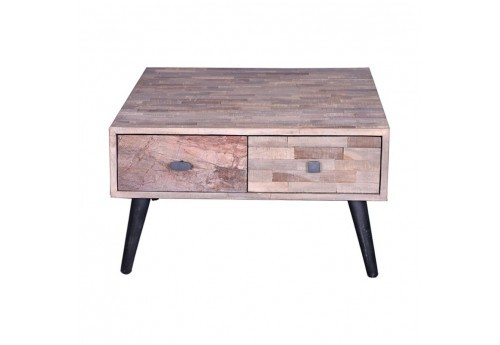 Table basse carré en teck recyclé naturel Quadro 65x65xH40cm
