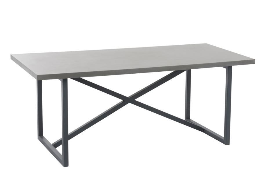 table manger pieds croiss noir plateau effet bton j line by jol