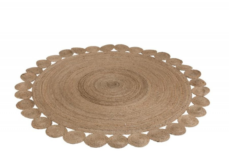 tapis rond en jute naturel avec cercles boh me chic j line. Black Bedroom Furniture Sets. Home Design Ideas
