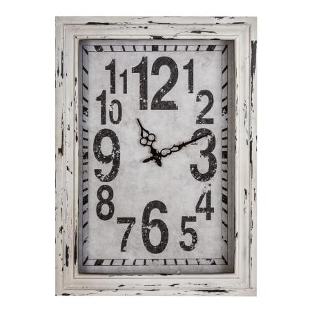 Horloge rectangulaire vintage aspect usé blanc SIENA