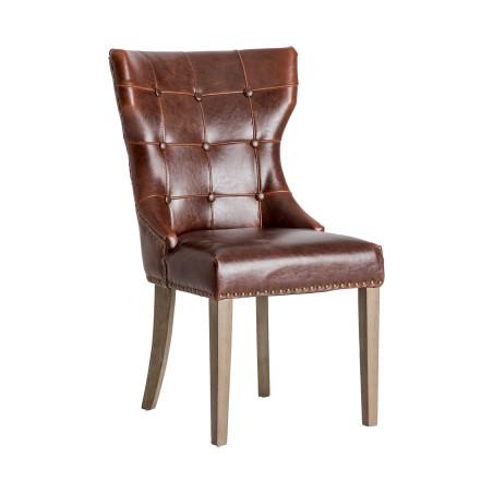 chaise atelier chic en cuir vieilli marron et dossier capitonné Vical Home