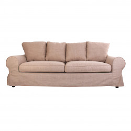 Canapé 3 places classique chic en tissu beige