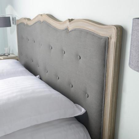 Tête de lit 180 en tissu anthracite et bois naturel Murano céleste