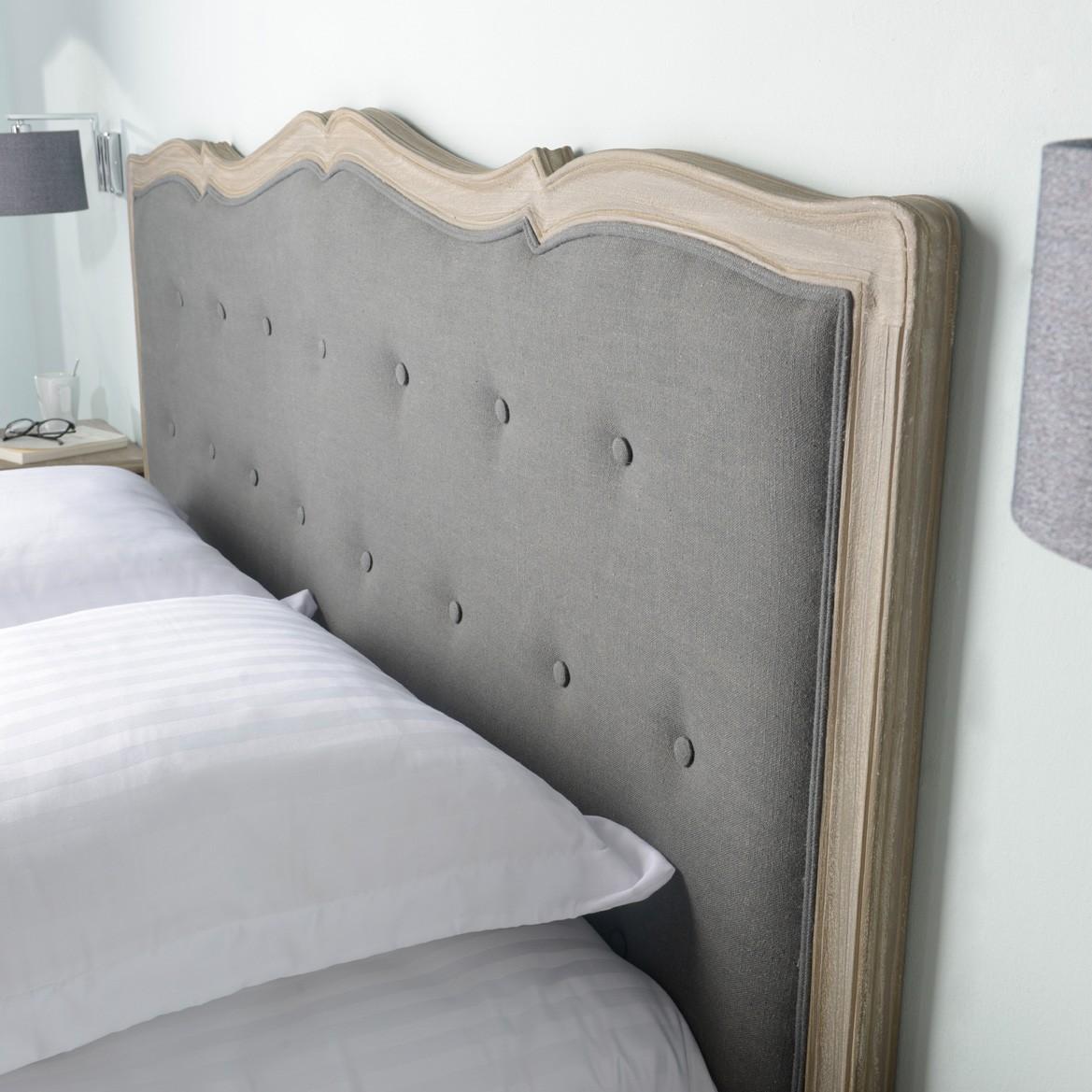 Tete De Lit Voile tête de lit 180 en tissu anthracite et bois naturel murano céleste
