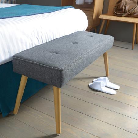 Bout de lit scandinave en tissu gris