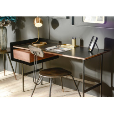 Bureau 1 tiroir moderne en noyer naturel et métal noir