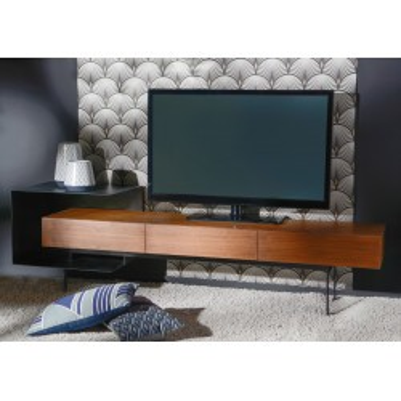 Meuble Tv contemporain en noyer et métal noir