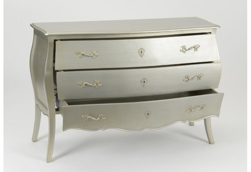 Commode longue 3 tiroirs murano argent silver Amadeus
