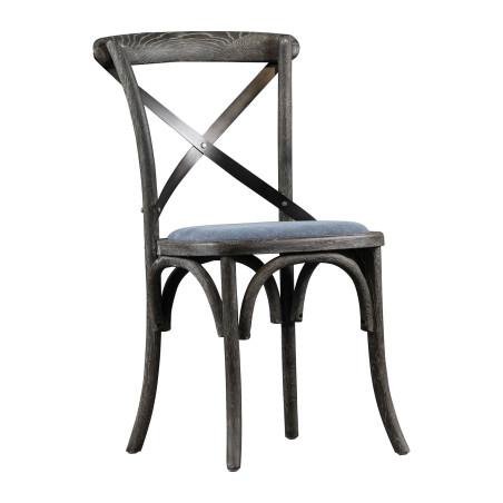 Chaise bistrot anthracite en chêne dessus lin bleu ZELINE (Lot de 2)