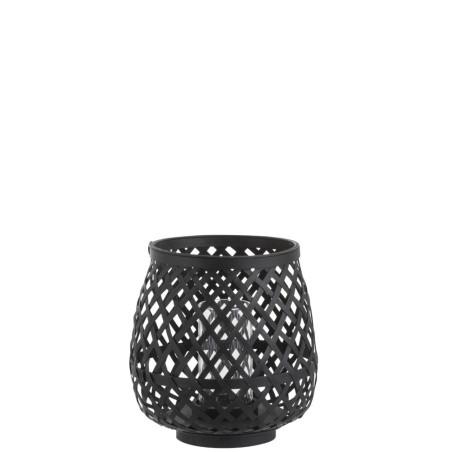 Photophore rond noir en bambou