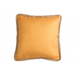 Coussin bord rotin satiné orange et rose